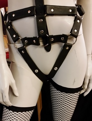 Leather Harness Body with Halterneck, Black
