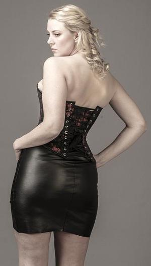 Overbust Black Brocade Satin (for smaller bust)
