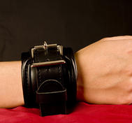 Padded, Lockable Handcuffs in PU Leather