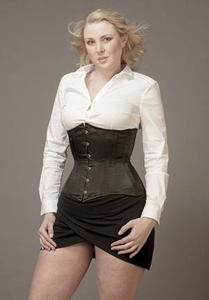 "Underbust Black Satin ""Empress"" (extra long, wider over the hips"