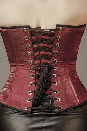 Overbust Maroon IR Silk with Black Edging