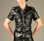 PU Pilot Shirt with epaulettes