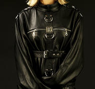 Black Straight Jacket in Genuine Leather