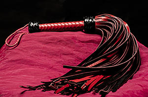 Leather Whip - 72-tailed Black, Genuine