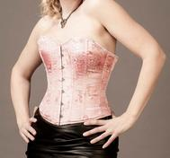Overbust Pink Brocade Satin with Black Edging (for smaller bust)
