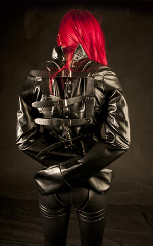 Soft black PU  Leather  Straitjacket