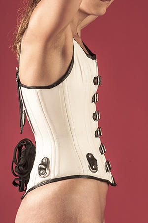 Black / white leather corset with buckles